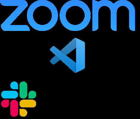 Logos of Zoom, Visual Studio Code and Slack.